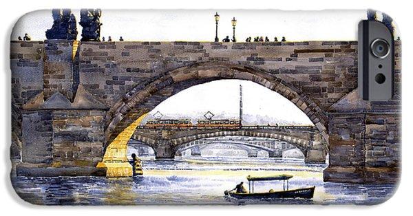 Charles Bridge iPhone Cases - Prague Bridges iPhone Case by Yuriy  Shevchuk