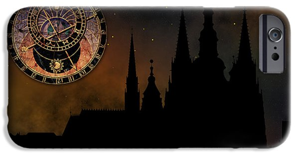 Prague Digital iPhone Cases - Prague casle - Cathedral of St Vitus - monuments of mysterious c iPhone Case by Michal Boubin