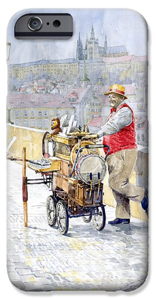Prague Charles Bridge Organ Grinder-Seller Happiness  iPhone Case by Yuriy  Shevchuk