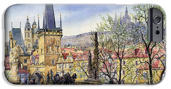 Papers iPhone Cases - Prague Charles Bridge Spring iPhone Case by Yuriy  Shevchuk