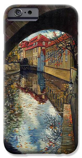 Town Paintings iPhone Cases - Prague Chertovka 3 iPhone Case by Yuriy  Shevchuk