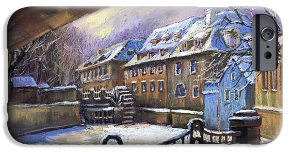 Pastels iPhone Cases - Prague Chertovka Winter 01 iPhone Case by Yuriy  Shevchuk