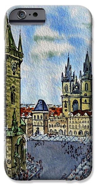 Town Square iPhone Cases - Prague Czech Republic iPhone Case by Irina Sztukowski