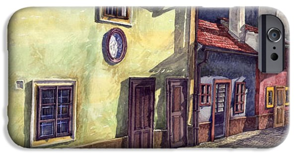 Lines iPhone Cases - Prague Golden Line Street iPhone Case by Yuriy  Shevchuk