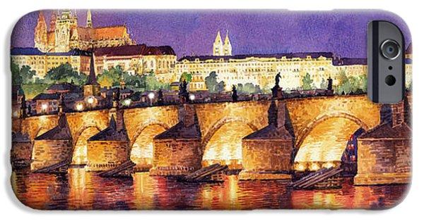 Watercolour Paintings iPhone Cases - Prague Night Panorama Charles Bridge  iPhone Case by Yuriy  Shevchuk
