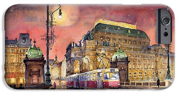 Prague Paintings iPhone Cases - Prague  Night Tram National Theatre iPhone Case by Yuriy  Shevchuk