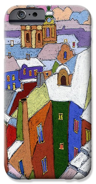 Roofs iPhone Cases - Prague Old Roofs Winter iPhone Case by Yuriy  Shevchuk