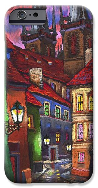 House Pastels iPhone Cases - Prague Old Street 01 iPhone Case by Yuriy  Shevchuk