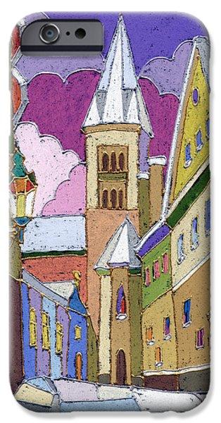 Pastels iPhone Cases - Prague Old Street Jilska Winter iPhone Case by Yuriy  Shevchuk