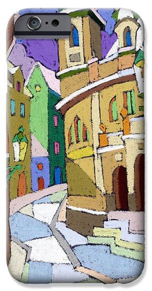 Decorativ iPhone Cases - Prague Old Street Karlova Winter iPhone Case by Yuriy  Shevchuk
