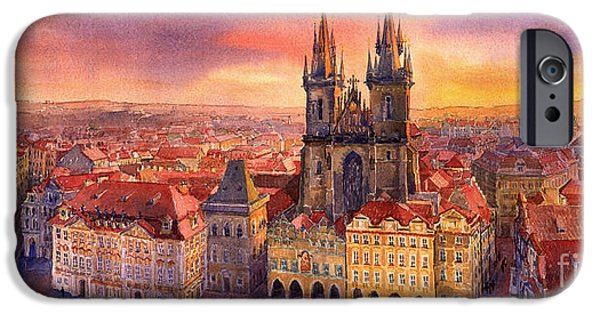 Town Paintings iPhone Cases - Prague Old Town Square 02 iPhone Case by Yuriy  Shevchuk