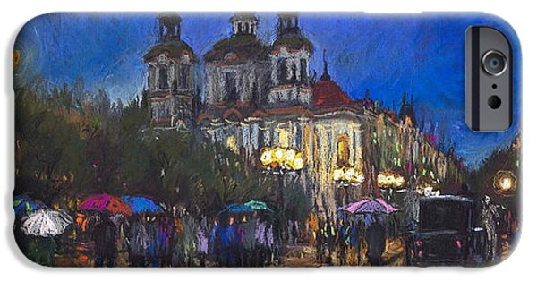 Papers iPhone Cases - Prague Old Town Square St Nikolas Ch iPhone Case by Yuriy  Shevchuk