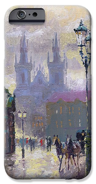 Town iPhone Cases - Prague Old Town Square  iPhone Case by Yuriy  Shevchuk