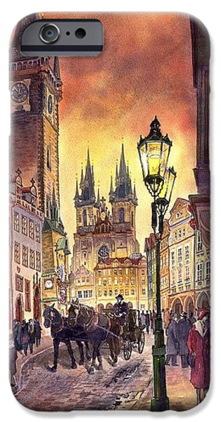 Town Paintings iPhone Cases - Prague Old Town Squere iPhone Case by Yuriy  Shevchuk