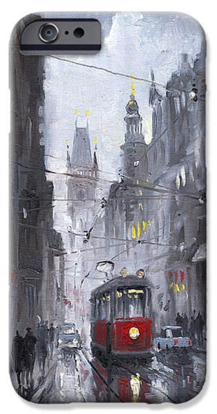 Town Paintings iPhone Cases - Prague Old Tram 03 iPhone Case by Yuriy  Shevchuk