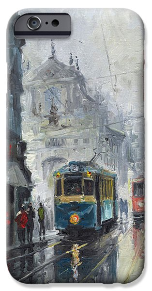 Town Paintings iPhone Cases - Prague Old Tram 04 iPhone Case by Yuriy  Shevchuk