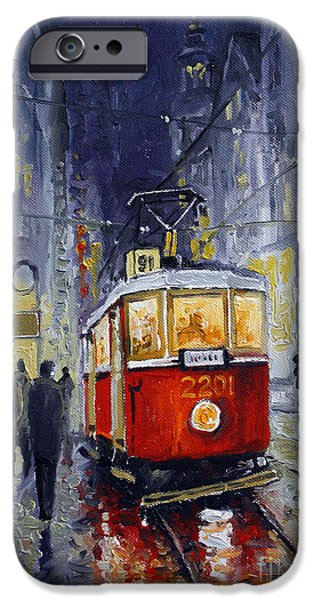 Oil Paintings iPhone Cases - Prague Old Tram 06 iPhone Case by Yuriy  Shevchuk