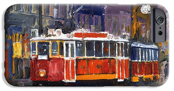 Oil Paintings iPhone Cases - Prague Old Tram 09 iPhone Case by Yuriy  Shevchuk