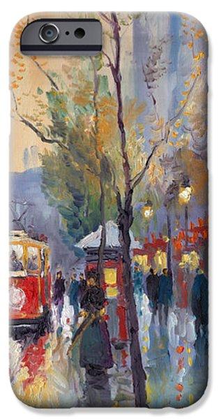 Prague Paintings iPhone Cases - Prague Old Tram Vaclavske Square iPhone Case by Yuriy  Shevchuk