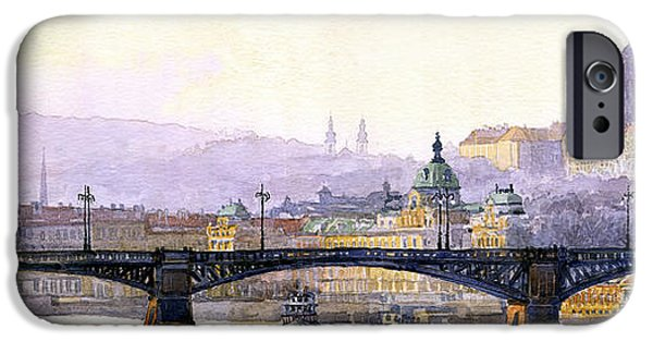 Buildings iPhone Cases - Prague Panorama Cechuv Bridge variant iPhone Case by Yuriy  Shevchuk