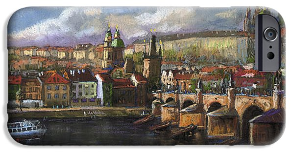 Pastels iPhone Cases - Prague Panorama Charles Bridge Prague Castle iPhone Case by Yuriy  Shevchuk