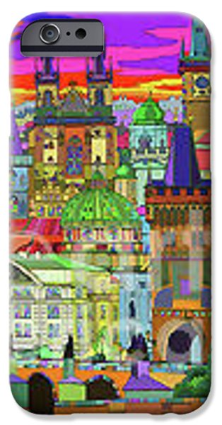 Buildings Mixed Media iPhone Cases - Prague Panorama Old Town iPhone Case by Yuriy  Shevchuk