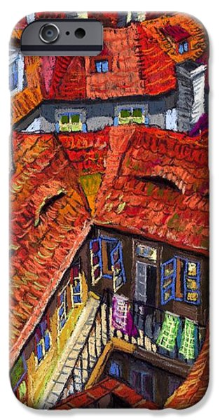 House Pastels iPhone Cases - Prague roofs 01 iPhone Case by Yuriy  Shevchuk
