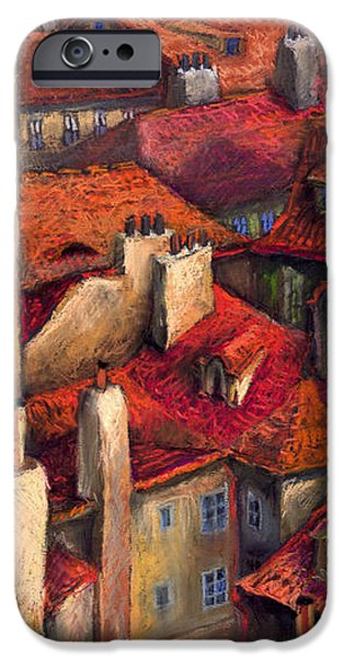 Pastels iPhone Cases - Prague Roofs iPhone Case by Yuriy  Shevchuk