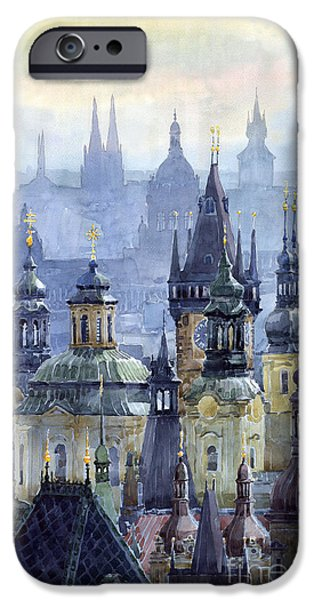 City Scenes Paintings iPhone Cases - Prague Towers iPhone Case by Yuriy  Shevchuk