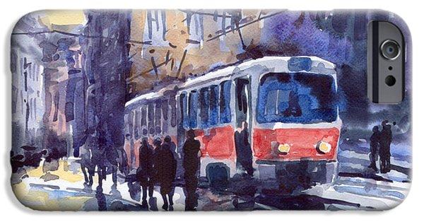 Prague Paintings iPhone Cases - Prague Tram 02 iPhone Case by Yuriy  Shevchuk