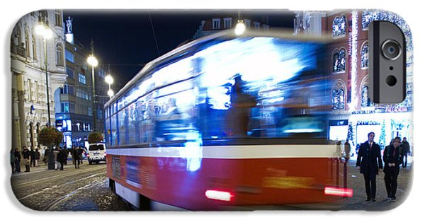 Blurred iPhone Cases - Prague tram iPhone Case by Stylianos Kleanthous