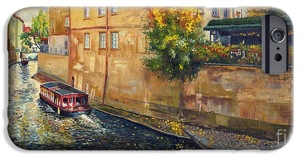 Town Paintings iPhone Cases - Prague Venice Chertovka 2 iPhone Case by Yuriy  Shevchuk