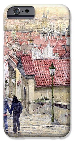 Steps Paintings iPhone Cases - Prague Zamecky Schody Castle Steps iPhone Case by Yuriy  Shevchuk