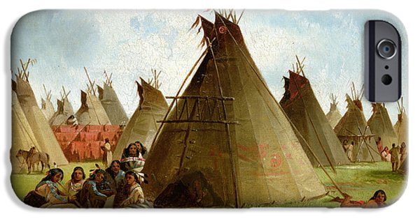 Wild iPhone Cases - Prairie Indian Encampment iPhone Case by John Mix Stanley