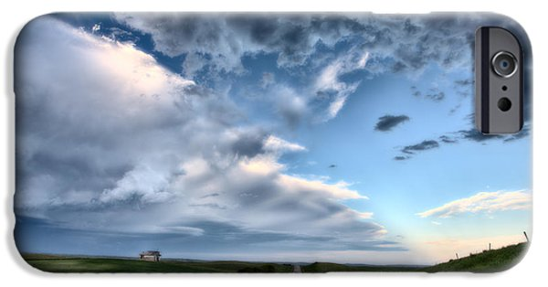 Field. Cloud Digital Art iPhone Cases - Prairie Road and School House iPhone Case by Mark Duffy