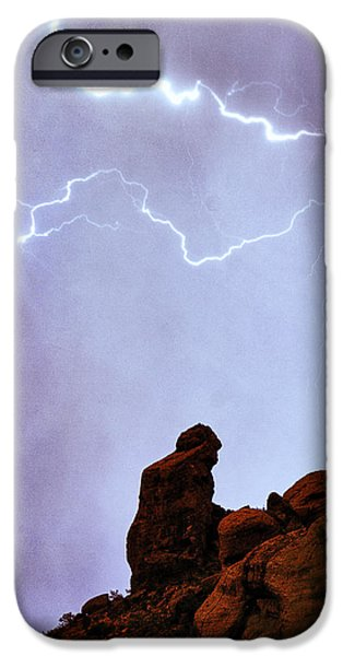 Praying Monk Camelback Mountain Paradise Valley Lightning  Storm iPhone Case by James BO  Insogna