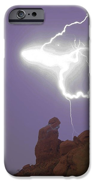 Praying Monk Lightning Halo Monsoon Thunderstorm Photography iPhone Case by James BO  Insogna