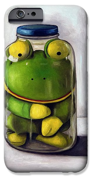 Frogs iPhone Cases - Preserving Childhood iPhone Case by Leah Saulnier The Painting Maniac