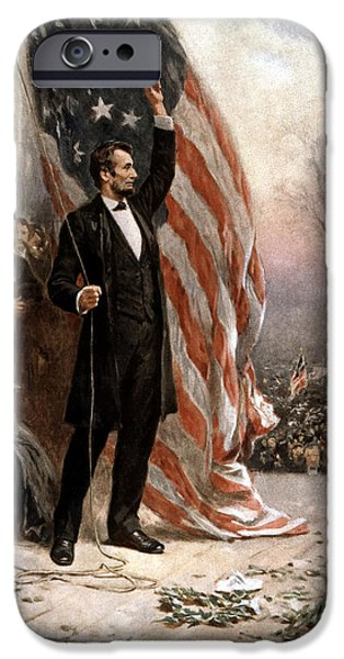 Flag iPhone Cases - President Abraham Lincoln Giving A Speech iPhone Case by War Is Hell Store