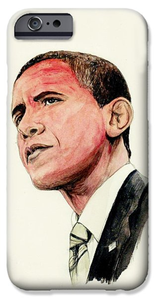 President Mixed Media iPhone Cases - President Barak Obama iPhone Case by Morgan Fitzsimons