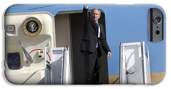 George Bush iPhone Cases - President George Bush Waves Good-bye iPhone Case by Stocktrek Images