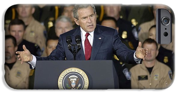 George Bush iPhone Cases - President George W. Bush Speaks iPhone Case by Stocktrek Images