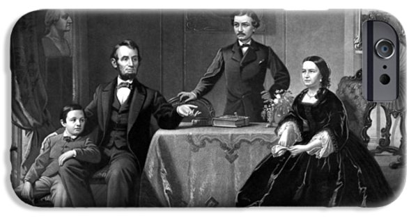 American History iPhone Cases - President Lincoln And His Family  iPhone Case by War Is Hell Store