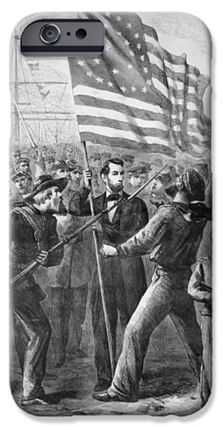U.s History iPhone Cases - President Lincoln holding the American Flag iPhone Case by War Is Hell Store