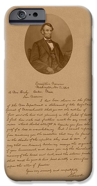 President Lincoln's Letter To Mrs. Bixby iPhone Case by War Is Hell Store