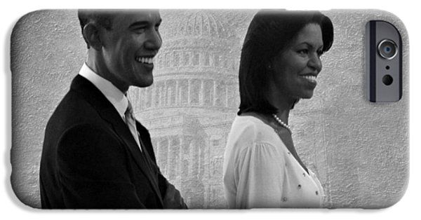 Barack Obama iPhone Cases - President Obama and First Lady BW iPhone Case by David Dehner