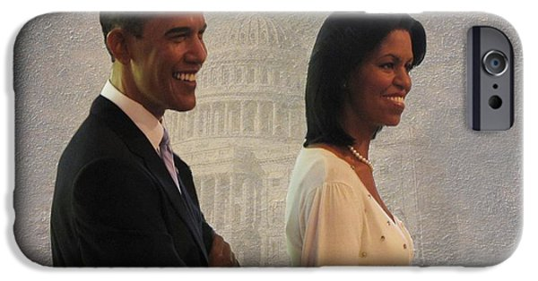 Michelle iPhone Cases - President Obama and First Lady iPhone Case by David Dehner