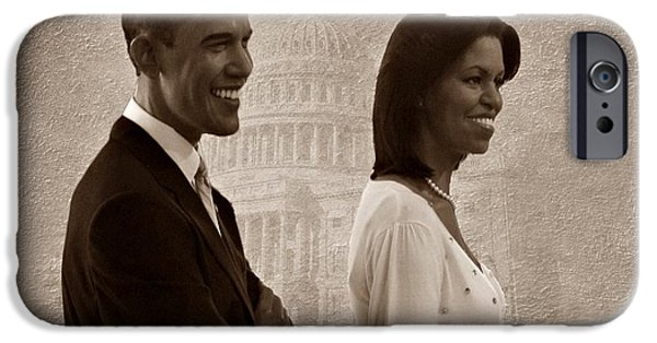 Barack Obama iPhone Cases - President Obama and First Lady S iPhone Case by David Dehner
