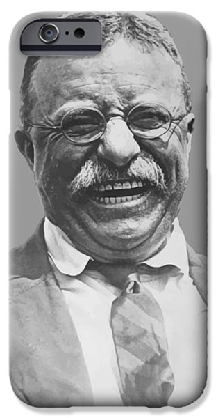 Us Presidents iPhone Cases - President Teddy Roosevelt iPhone Case by War Is Hell Store