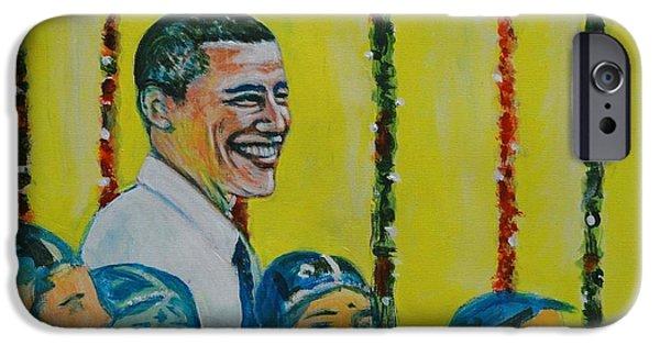 President Obama iPhone Cases - Prez Obama with Children iPhone Case by Usha Shantharam